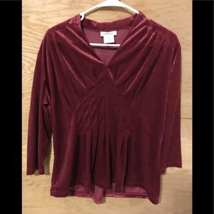 CW classics red velour ( feel) holiday top shirt S